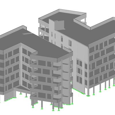 Gebäudemodell EG - 5.OG (Ohne Verbindungstrakt und Untergeschoss) [Fotoquelle: Ausdruck aus RFEM von Dlubal Software GmbH]