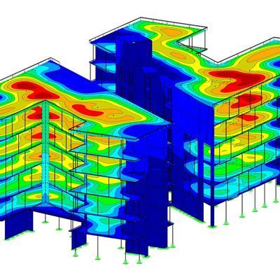 Gebäudemodell EG - 5.OG mit Deckenverformungen als Iso-Flächen (Ohne Verbindungstrakt und ohne Untergeschoss) [Fotoquelle: IG Tragwerk - Ausdruck aus RFEM von Dlubal Software GmbH]